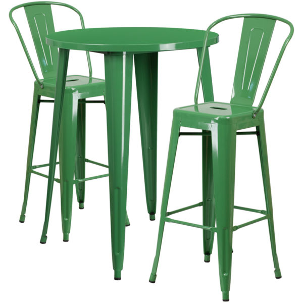 Lowest Price 30'' Round Green Metal Indoor-Outdoor Bar Table Set with 2 Cafe Stools