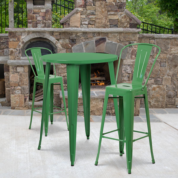 Wholesale 30'' Round Green Metal Indoor-Outdoor Bar Table Set with 2 Cafe Stools