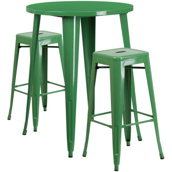 Lowest Price 30'' Round Green Metal Indoor-Outdoor Bar Table Set with 2 Square Seat Backless Stools