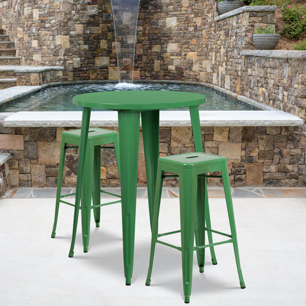 Wholesale 30'' Round Green Metal Indoor-Outdoor Bar Table Set with 2 Square Seat Backless Stools