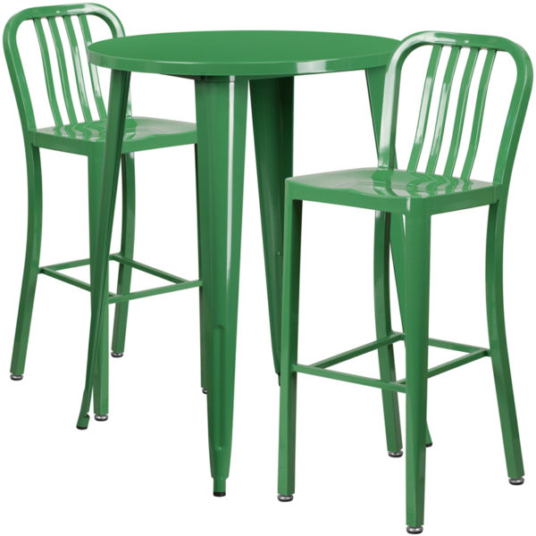 Lowest Price 30'' Round Green Metal Indoor-Outdoor Bar Table Set with 2 Vertical Slat Back Stools