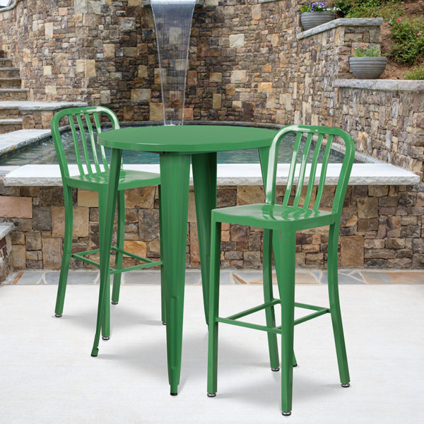 Wholesale 30'' Round Green Metal Indoor-Outdoor Bar Table Set with 2 Vertical Slat Back Stools