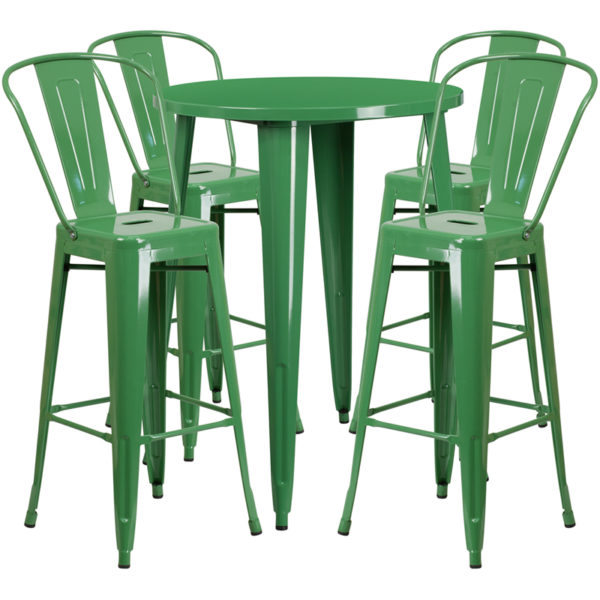 Lowest Price 30'' Round Green Metal Indoor-Outdoor Bar Table Set with 4 Cafe Stools