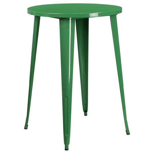 Bar Height Table and Stool Set 30RD Green Metal Bar Set