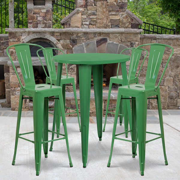 Wholesale 30'' Round Green Metal Indoor-Outdoor Bar Table Set with 4 Cafe Stools