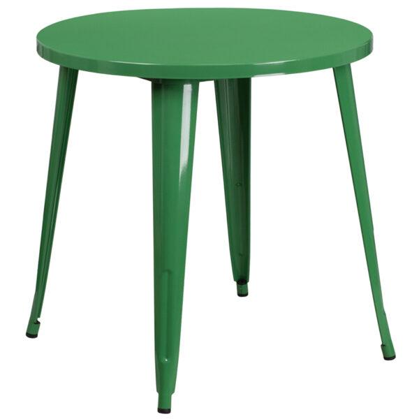 Wholesale 30'' Round Green Metal Indoor-Outdoor Table