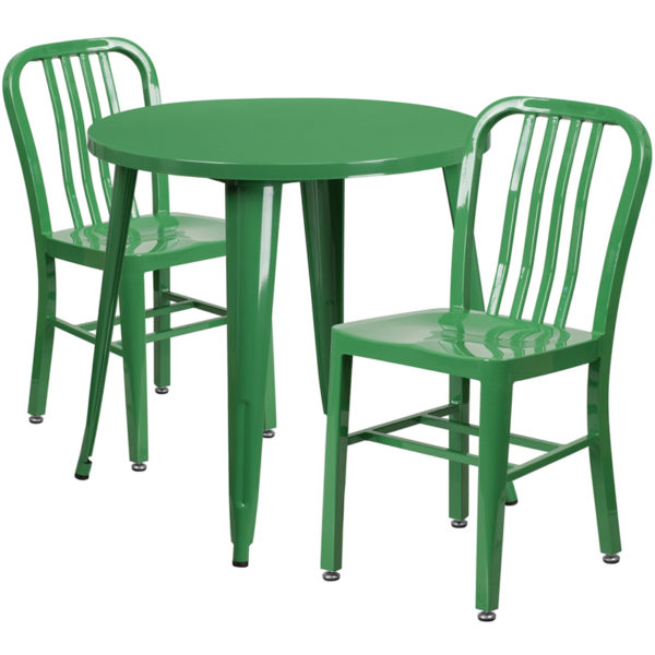 Wholesale 30'' Round Green Metal Indoor-Outdoor Table Set with 2 Vertical Slat Back Chairs