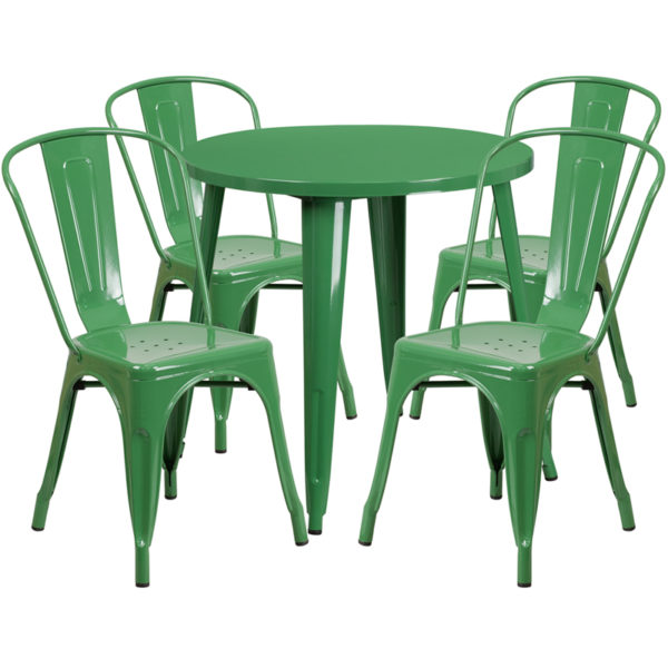 Wholesale 30'' Round Green Metal Indoor-Outdoor Table Set with 4 Cafe Chairs