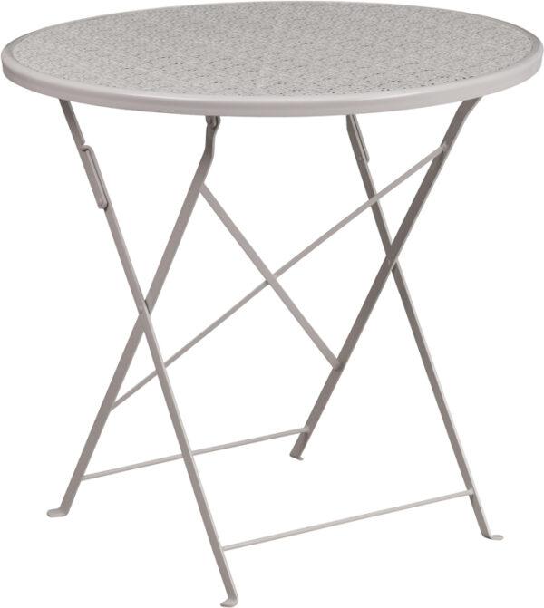 Wholesale 30'' Round Light Gray Indoor-Outdoor Steel Folding Patio Table
