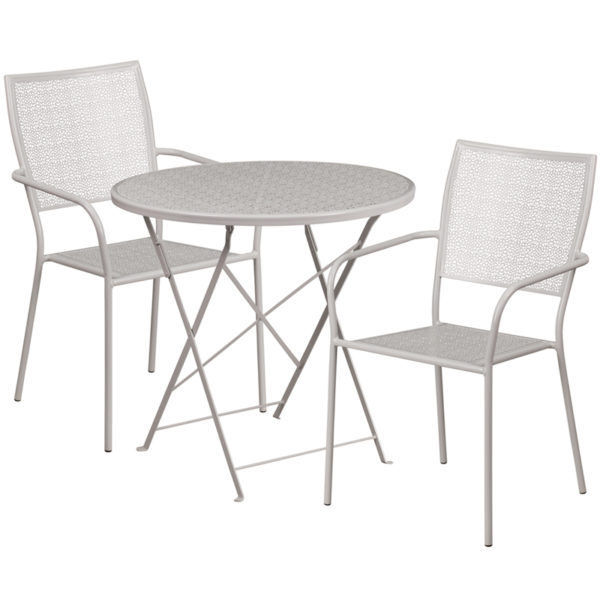 Wholesale 30'' Round Light Gray Indoor-Outdoor Steel Folding Patio Table Set with 2 Square Back Chairs