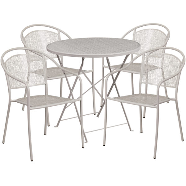 Wholesale 30'' Round Light Gray Indoor-Outdoor Steel Folding Patio Table Set with 4 Round Back Chairs
