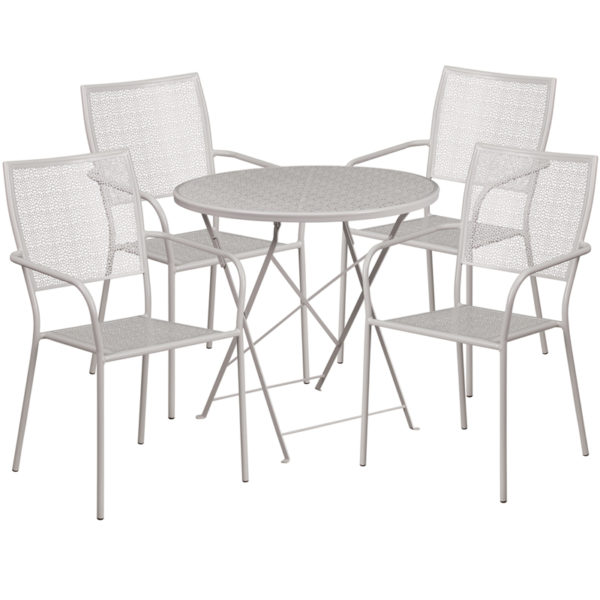 Wholesale 30'' Round Light Gray Indoor-Outdoor Steel Folding Patio Table Set with 4 Square Back Chairs