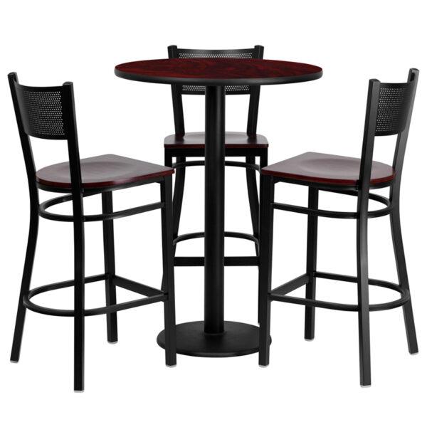 Lowest Price 30'' Round Mahogany Laminate Table Set with 3 Grid Back Metal Barstools - Mahogany Wood Seat