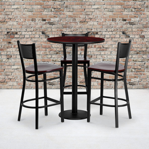 Wholesale 30'' Round Mahogany Laminate Table Set with 3 Grid Back Metal Barstools - Mahogany Wood Seat
