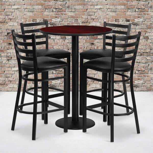 Wholesale 30'' Round Mahogany Laminate Table Set with Round Base and 4 Ladder Back Metal Barstools - Black Vinyl Seat