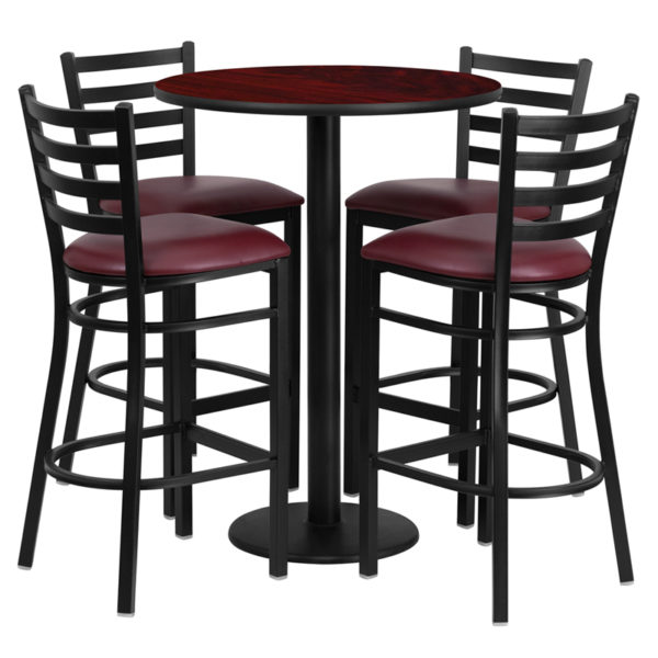 Lowest Price 30'' Round Mahogany Laminate Table Set with Round Base and 4 Ladder Back Metal Barstools - Burgundy Vinyl Seat