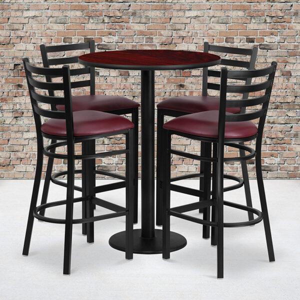 Wholesale 30'' Round Mahogany Laminate Table Set with Round Base and 4 Ladder Back Metal Barstools - Burgundy Vinyl Seat