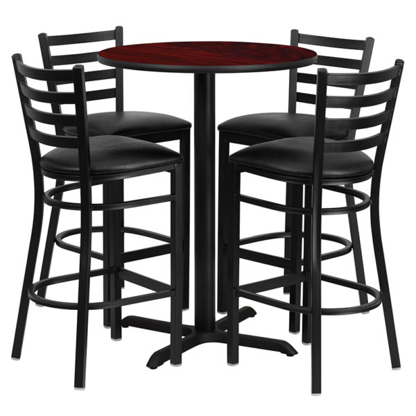 Lowest Price 30'' Round Mahogany Laminate Table Set with X-Base and 4 Ladder Back Metal Barstools - Black Vinyl Seat