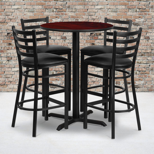 Wholesale 30'' Round Mahogany Laminate Table Set with X-Base and 4 Ladder Back Metal Barstools - Black Vinyl Seat