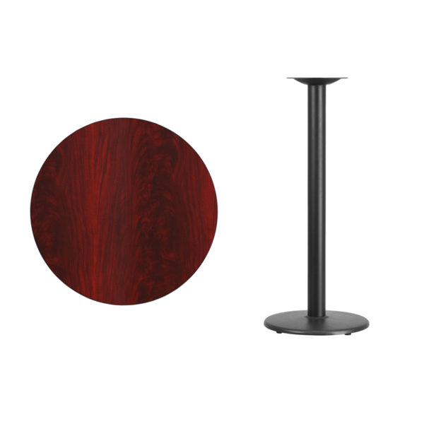 Lowest Price 30'' Round Mahogany Laminate Table Top with 18'' Round Bar Height Table Base