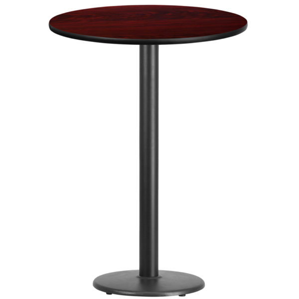 Wholesale 30'' Round Mahogany Laminate Table Top with 18'' Round Bar Height Table Base