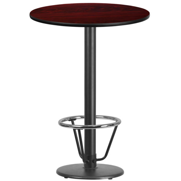 Wholesale 30'' Round Mahogany Laminate Table Top with 18'' Round Bar Height Table Base and Foot Ring