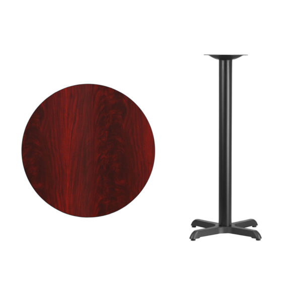 Lowest Price 30'' Round Mahogany Laminate Table Top with 22'' x 22'' Bar Height Table Base
