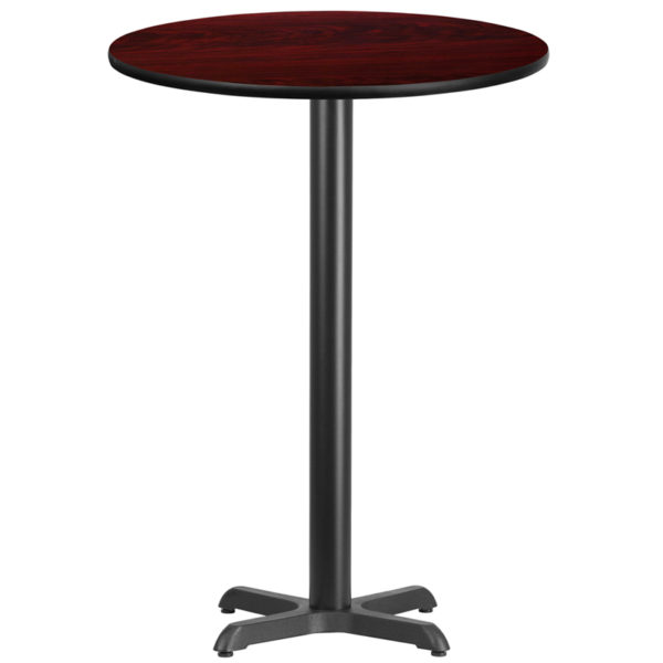 Wholesale 30'' Round Mahogany Laminate Table Top with 22'' x 22'' Bar Height Table Base