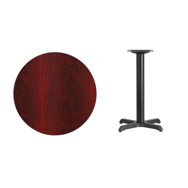 Lowest Price 30'' Round Mahogany Laminate Table Top with 22'' x 22'' Table Height Base