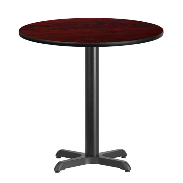 Wholesale 30'' Round Mahogany Laminate Table Top with 22'' x 22'' Table Height Base