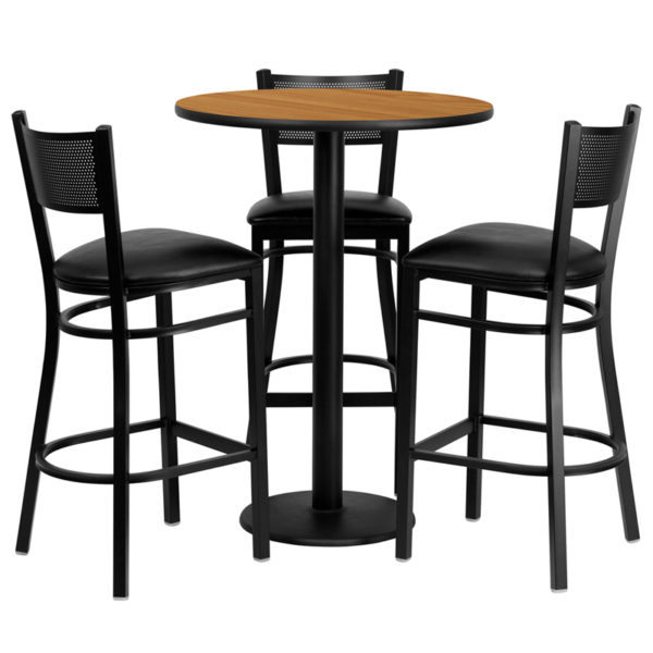 Lowest Price 30'' Round Natural Laminate Table Set with 3 Grid Back Metal Barstools - Black Vinyl Seat
