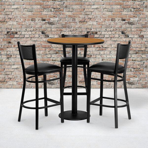 Wholesale 30'' Round Natural Laminate Table Set with 3 Grid Back Metal Barstools - Black Vinyl Seat