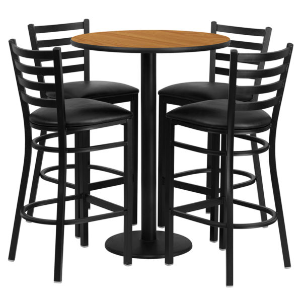 Lowest Price 30'' Round Natural Laminate Table Set with Round Base and 4 Ladder Back Metal Barstools - Black Vinyl Seat
