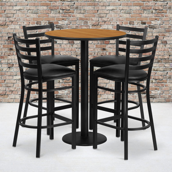 Wholesale 30'' Round Natural Laminate Table Set with Round Base and 4 Ladder Back Metal Barstools - Black Vinyl Seat