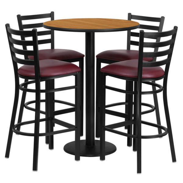 Lowest Price 30'' Round Natural Laminate Table Set with Round Base and 4 Ladder Back Metal Barstools - Burgundy Vinyl Seat
