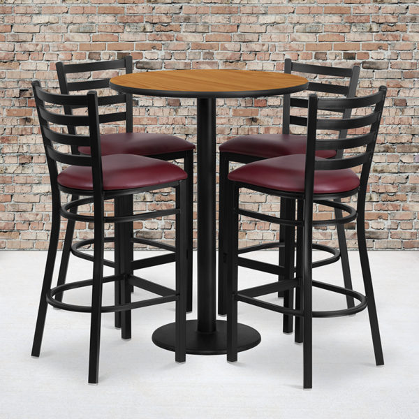 Wholesale 30'' Round Natural Laminate Table Set with Round Base and 4 Ladder Back Metal Barstools - Burgundy Vinyl Seat