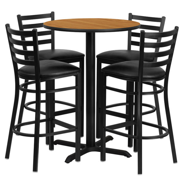 Lowest Price 30'' Round Natural Laminate Table Set with X-Base and 4 Ladder Back Metal Barstools - Black Vinyl Seat