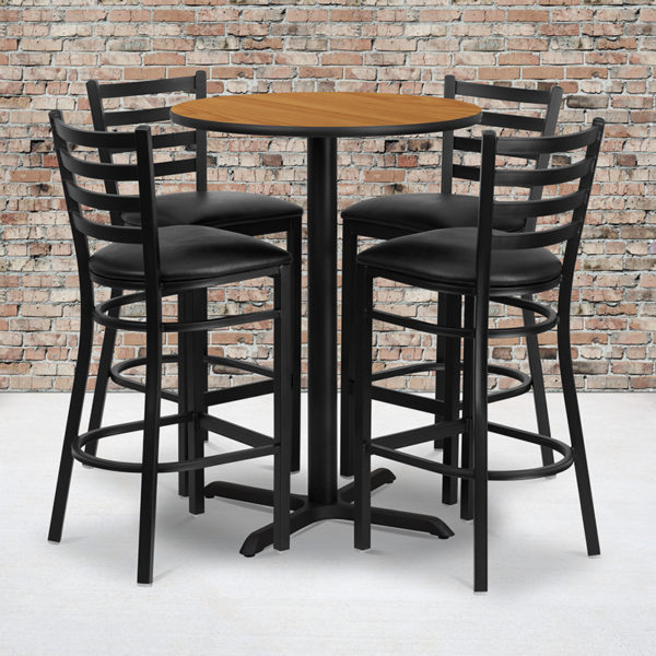 Wholesale 30'' Round Natural Laminate Table Set with X-Base and 4 Ladder Back Metal Barstools - Black Vinyl Seat
