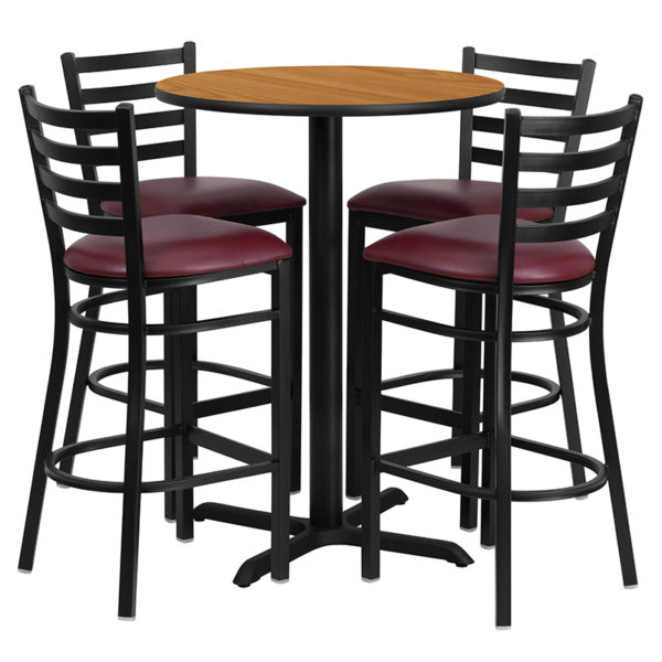 Lowest Price 30'' Round Natural Laminate Table Set with X-Base and 4 Ladder Back Metal Barstools - Burgundy Vinyl Seat