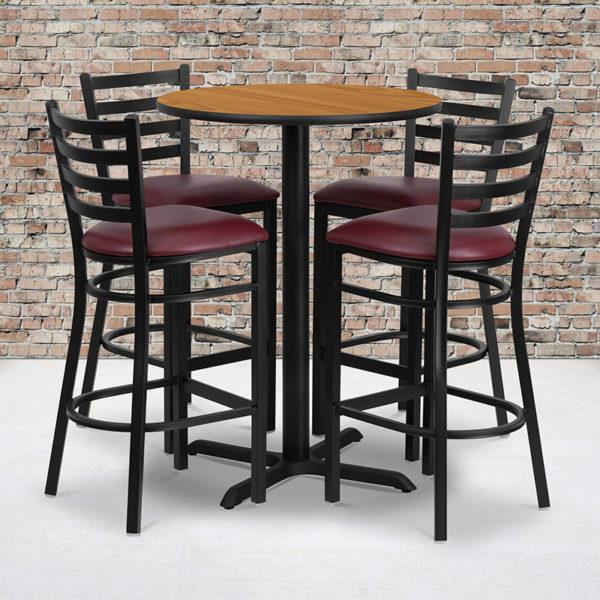 Wholesale 30'' Round Natural Laminate Table Set with X-Base and 4 Ladder Back Metal Barstools - Burgundy Vinyl Seat