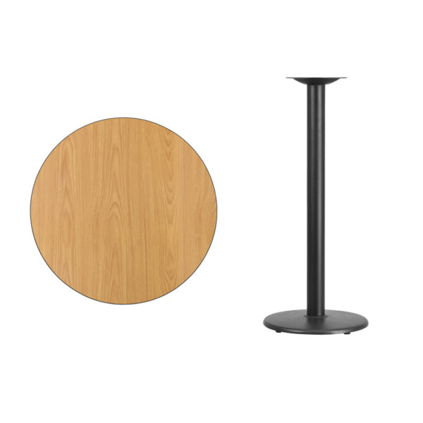 Lowest Price 30'' Round Natural Laminate Table Top with 18'' Round Bar Height Table Base
