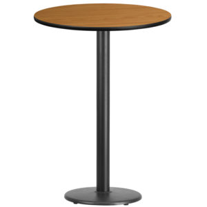 Wholesale 30'' Round Natural Laminate Table Top with 18'' Round Bar Height Table Base