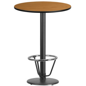 Wholesale 30'' Round Natural Laminate Table Top with 18'' Round Bar Height Table Base and Foot Ring