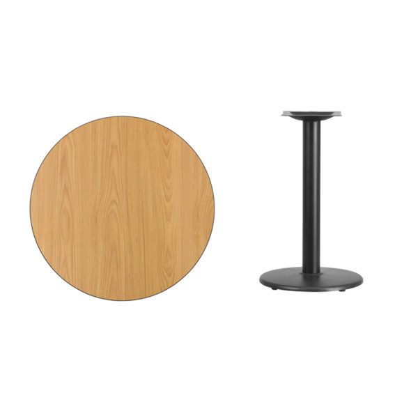 Lowest Price 30'' Round Natural Laminate Table Top with 18'' Round Table Height Base