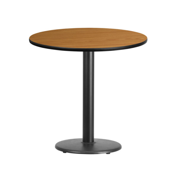 Wholesale 30'' Round Natural Laminate Table Top with 18'' Round Table Height Base