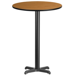 Wholesale 30'' Round Natural Laminate Table Top with 22'' x 22'' Bar Height Table Base