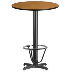 Wholesale 30'' Round Natural Laminate Table Top with 22'' x 22'' Bar Height Table Base and Foot Ring