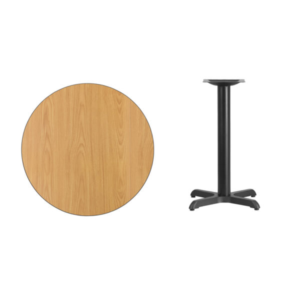 Lowest Price 30'' Round Natural Laminate Table Top with 22'' x 22'' Table Height Base