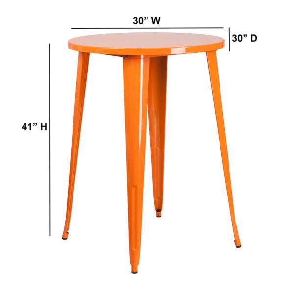 Lowest Price 30'' Round Orange Metal Indoor-Outdoor Bar Height Table