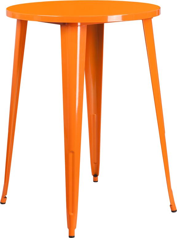 Wholesale 30'' Round Orange Metal Indoor-Outdoor Bar Height Table